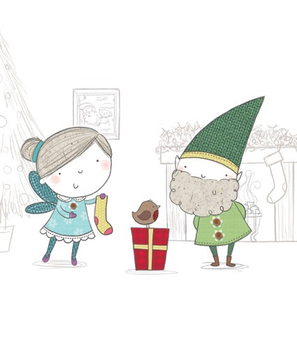 Sarah Ward Illustration - greetings cards, sarah ward, sarah, ward, novelty, picture book, digital, young, sweet, commercial, educational, activity, drawing, pencil, collage, people, girls, boys, fairies, fairy, elves, elf, christmas