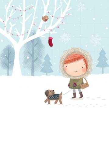 Sarah Ward Illustration - greetings cards, sarah ward, sarah, ward, novelty, picture book, digital, young, sweet, commercial, educational, activity, girls, females, teenagers, walking, strolling, outdoors, outside, parks, trees, birds, robins, dogs, doggy, puppy, puppies, footprin