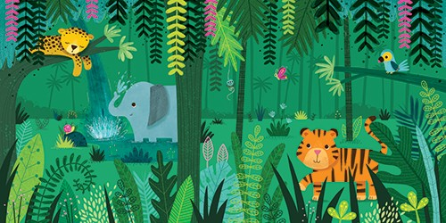 Sarah Ward Illustration - greetings cards, sarah ward, sarah, ward, novelty, picture book, digital, young, sweet, commercial, educational, activity, cute, YA, young reader, colourful, jungle, animals, elephant, tiger,