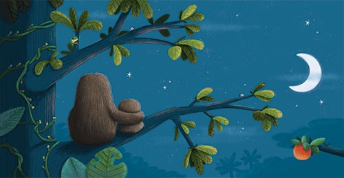 Sarah Ward Illustration -  sarah ward, sarah, ward, novelty, picture book, digital, young, sweet, commercial, educational, activity, cute, YA, young reader, colourful, sloths, animals, parent, child, baby, night, branch, nature, tree, stars, moon, night, cuddle, hug, cute, sweet
