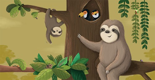 Sarah Ward Illustration -  sarah ward, sarah, ward, novelty, picture book, digital, young, sweet, commercial, educational, activity, cute, YA, young reader, colourful, sloths, animals, parent, child, baby, branch, nature, tree, birds, toucans, friends, sweet, cute, leaves, vines