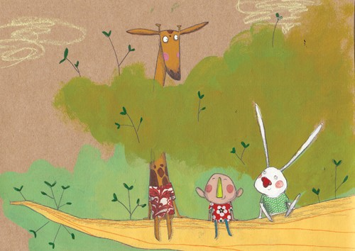 Tamara Anegon Illustration - tamara anegon, trade, commercial, picture book, painted, digital, animals, people, children, rabbits, bunnies, bunny, giraffes, boys