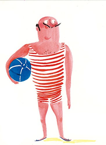 Tamara Anegon Illustration - tamara, anegon, tamara anegon, trade, commercial, picture book, painted, hand drawn, colour, digital, pencils, fiction, editorial, males, man, dad, males, swimsuit, bathing suit, beaches, sand, beach ball, stripes,