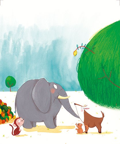 Tamara Anegon Illustration - tamara, anegon, tamara anegon, trade, commercial, picture book, painted, hand drawn, colour, digital, pencils, fiction, acrylics, animals, pets, friends, elephants, lemons, trees, squirrels, deers, monkeys