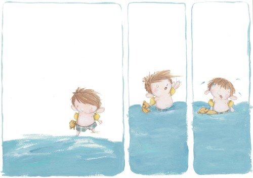 Tamara Anegon Illustration - tamara, anegon, tamara anegon, trade, commercial, picture book, painted, hand drawn, pencil, colour, digital, person, people, boys, swimming pool, water, lakes, rivers, exercise, exercising, splashing, wet, armbands, teddies, teddy bears, toys, companions