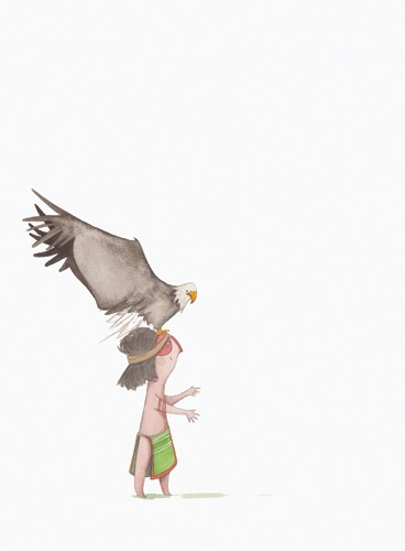 Tamara Anegon Illustration - tamara, anegon, tamara anegon, trade, commercial, picture book, painted, hand drawn, colour, digital, pencils, watercolours, animals, pets, eagles, birds, birds of prey, warriors, boy, child, children, kids, tribal, bribe, magical, dream, mystical