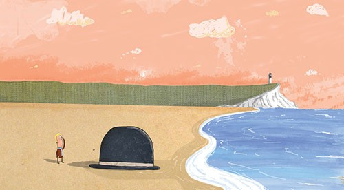 Tom Disbury Illustration - Tom, Disbury, Tom Disbury, Digital, Photoshop, Illustrator, colour, textured, scribble, collage, educational, fiction, picture book, editorial, young reader, sea, water, coast, beach, hats, big, lighthouses, cliffs, cliff tops, person, characters, males,
