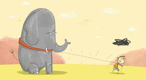 Tom Disbury Illustration - Tom, Disbury, Tom Disbury, Digital, Photoshop, Illustrator, colour, textured, scribble, collage, educational, fiction, picture book, editorial, young reader, animals, pets, friends, elephants, boys, tugging, dragging, collar, lead, clouds, outdoors, outsi