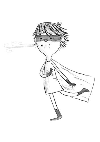 Tom Tinn-Disbury Illustration - Tom, Disbury, Tom Disbury, Digital, Photoshop, Illustrator, educational, fiction, picture book, editorial, young reader, YA, ya, black and white, b&w, grey scale, boy, superhero, wind, mask, cape, dressing up, fancy dress,