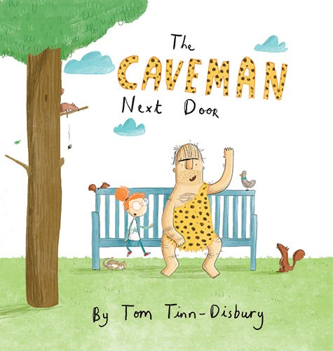Tom Tinn-Disbury Illustration - Tom, Disbury, Tom Disbury, Digital, Photoshop, Illustrator,  fiction, picture book, editorial, young reader, YA, ya, character, caveman, man, girl, friends, park, bench, tree, the caveman next door, animals, nature, grass, wave, hello, greeting, birds, sq
