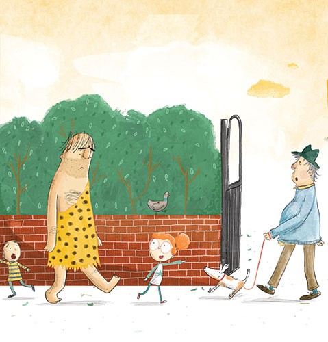 Tom Tinn-Disbury Illustration - Tom, Disbury, Tom Disbury, Digital, Photoshop, Illustrator,  fiction, picture book, editorial, young reader, YA, ya, character, caveman, man, the caveman next door, girl, friends, walk, park, dog, pet, lead, walking, trees, gate, teaching, learning,