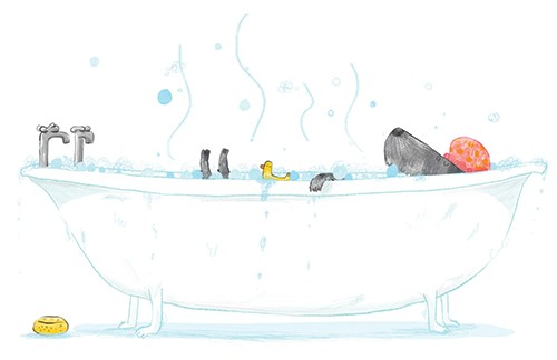 Tom Tinn-Disbury Illustration - Tom, Disbury, Tom Disbury, Digital, Photoshop, Illustrator, fiction, picture book, editorial, young reader, character, dog, pet, animal, house, home, bath, bubbles, bubble bath, cute, funny, rubber duck, water, duck, relaxing, relax, silly, funny,