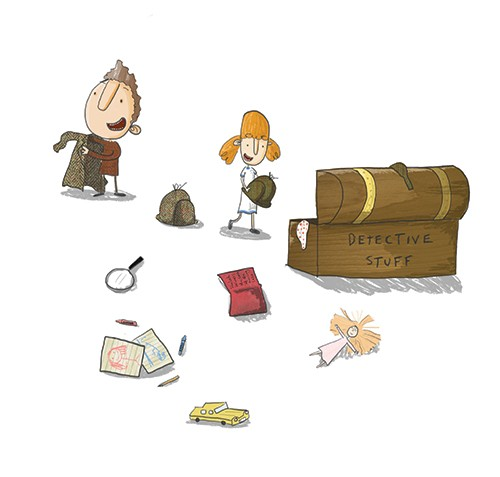 Tom Disbury Illustration - Tom, Disbury, Tom Disbury, Digital, Photoshop, Illustrator, educational, fiction, picture book, editorial, young reader, detectives, girls, boys, brothers, sisters, siblings, family, friends, dressing up box, magnifying glass, toys, cars, toys, books, pen