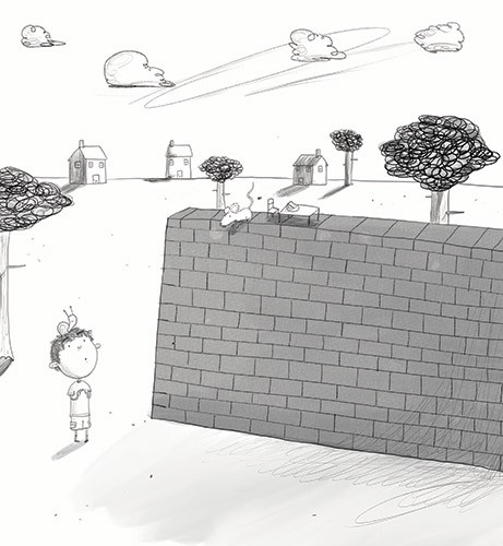 Tom Disbury Illustration - Tom, Disbury, Tom Disbury, Digital, Photoshop, Illustrator, educational, fiction, picture book, editorial, young reader, YA, ya, black and white, b&w, grey scale, Eric, clouds, houses, homes, snails, mice, mouse, cheese