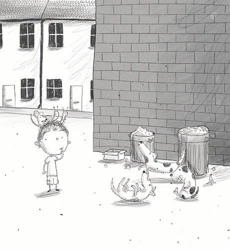 Tom Disbury Illustration - Tom, Disbury, Tom Disbury, Digital, Photoshop, Illustrator, educational, fiction, picture book, editorial, young reader, YA, ya, black and white, b&w, grey scale, Eric, dogs, dustbins, animals, pets, puppy, puppies, rubbish, snails, chapter books, centipe