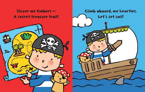 Tania Hurt-Newton Illustration - tania hurt newton, tania hurt-newton, digital, young, commercial, educational, novelty, board, people, children, pirates, treasure map, boats, ships, sea, ocean, waves, water, sharks, boys