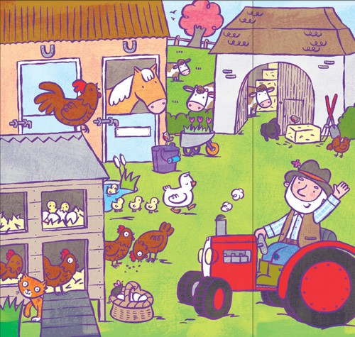 Tania Hurt-Newton Illustration - tania hurt newton, tania hurt-newton, digital, young, commercial, educational, novelty, board, animals, farm, farm yard, farmyard, people, farmer, horses, chickens, hens, cows, tractors