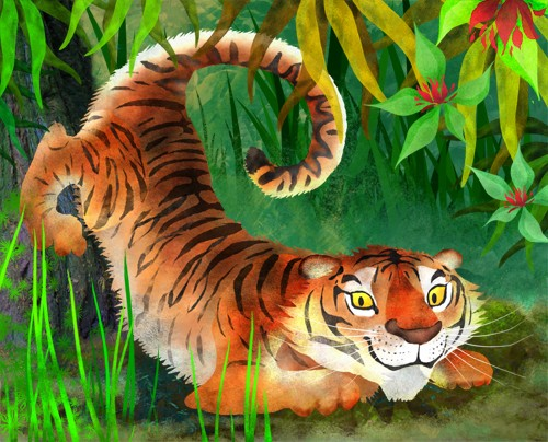 Milly Teggle Illustration - milly, teggle, milly teggle, photoshop, adobe, digital art, adobe photoshop, digital, texture, textured, textures, picture book, commercial, educational, tiger, cat, stripe, stripey, striped, smile, smiling, whiskers, tail, curled tail, curly tail, tree,