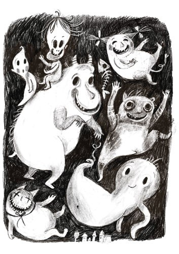 Tanja Stephani Illustration - tanja, stephani, tanja stephani, trade, commercial, picture book, painted, hand drawn, traditional, pencil, texture, black and white, b&w, ghosts, smile, happy, halloween, festive, seasonal, spooky, skeleton, children, kids, monsters,