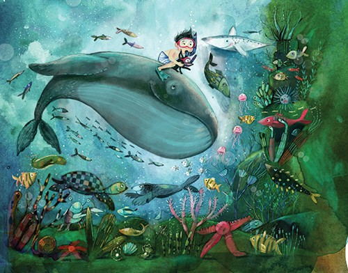 Tanja Stephani Illustration - tanja, stephani, tanja stephani, trade, commercial, picture book, painted, hand drawn, traditional, pencil, texture, colour, colourful, water, underwater, sea, ocean, explore, boy, child, character, whale, snorkel, fish, turtle, starfish, shark, coral,