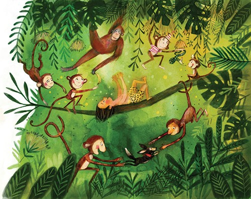 Tanja Stephani Illustration - tanja, stephani, tanja stephani, trade, commercial, picture book, painted, hand drawn, traditional, pencil, texture, colour, colourful, jungle, monkeys, animals, wild, boy, child, character, leaves, vines, branch, playing, dog, pet, adventure, swing