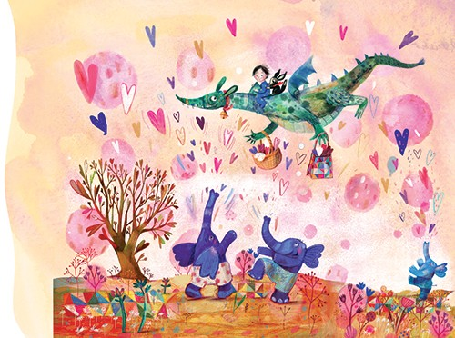 Tanja Stephani Illustration - tanja, stephani, tanja stephani, trade, commercial, picture book, painted, hand drawn, traditional, pencil, texture, colour, colourful, boy, child, character, dragon, mythical, magic, fantasy, flying, hearts, love, elephants, dancing, trees, flowers, happ