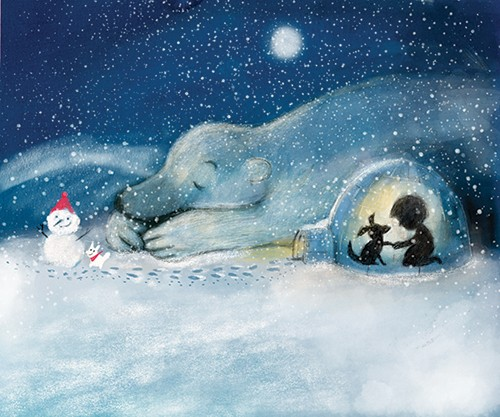 Tanja Stephani Illustration - tanja, stephani, tanja stephani, trade, commercial, picture book, painted, hand drawn, traditional, pencil, texture, colour, colourful, snow, snowing, winter, seasonal, cold, polar bear, boy, dog, child, pet, animal,s wild, igloo, warm, light, safe, dark,