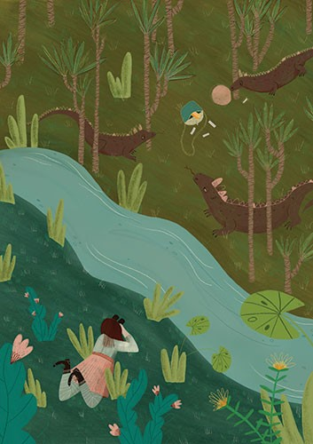 Vicky Lommatzsch Illustration - vicky, lommatzsch, vicky lommatzsch, commercial, fiction, mass market, picture book,YA, painted, paint, traditional, hand drawn, drawing, pencil, colour, nature, river, jungle, trees, lizards, dragons, person, binoculars, watching, plants, water, lilypad,