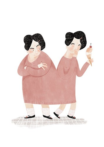 Vicky Lommatzsch Illustration - vicky, lommatzsch, vicky lommatzsch, commercial, fiction, mass market, picture book,YA, painted, paint, traditional, hand drawn, drawing, pencil, colour, women, ladies, conjoined, joined, ice cream, happy, annoyed, emotions,