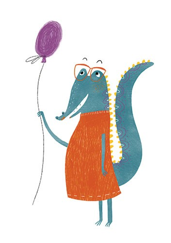 Vicky Lommatzsch Illustration - vicky, lommatzsch, vicky lommatzsch, commercial, fiction, mass market, picture book,YA, painted, paint, traditional, hand drawn, drawing, pencil, colour, animal, crocodile, balloon, happy, glasses, dress, wild, cute, sweet,