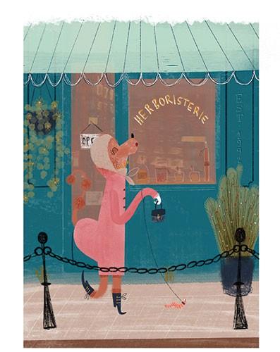 Vicky Lommatzsch Illustration - vicky, lommatzsch, vicky lommatzsch, commercial, fiction, mass market, picture book,YA, painted, paint, traditional, hand drawn, drawing, pencil, colour, dog, animal, shop, building, worm, walk, window, street,