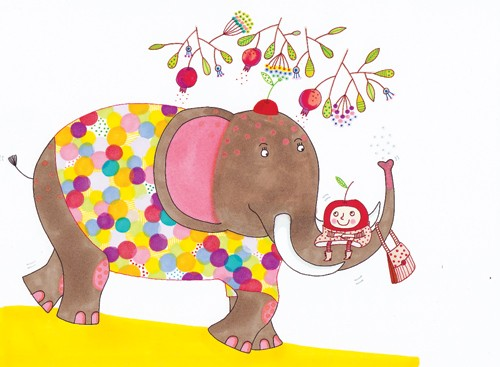 Valeria Valenza Illustration - valeria, valenza, valeria valenza, paint, painted, traditional, decoration, decorative, trade, sophisticated, picture book, picture book, animal, elephant, pattern, figure, person, leaves, pattern, colourful , colour, bright, handbag