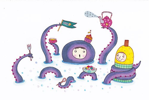 Valeria Valenza Illustration - valeria, valenza, valeria valenza, painted, traditional, digital, decorative, trade, sophisticated, picture book, colours, colourful, vector, quirky, kitsch, octopus, animal, person, child, tentacles, costume, owl, funny, teapot, sea, bubbles,  flag, cupc