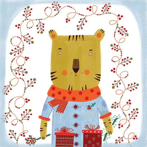 Valeria Valenza Illustration - valeria, valenza, valeria valenza, painted, traditional, digital, decorative, trade, sophisticated, picture book, colours, colourful, vector, quirky, kitsch, tiger, animal, pattern, christmas, cherries, presents, gifts, seasonal, festive, scarf, holly, bo