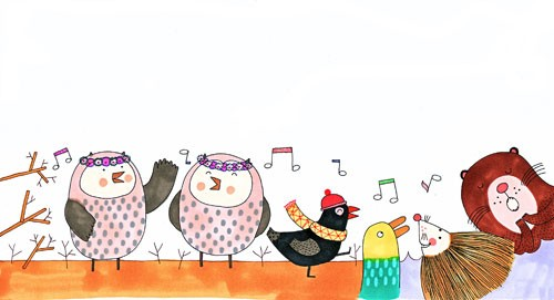 Valeria Valenza Illustration - valeria, valenza, valeria valenza, paint, painted, traditional, decoration, decorative, trade, sophisticated, picture book, picture book, YA, young reader, quirky, animals, birds, owls, singing, playing, play time, bear, hedgehog, duck, pattern