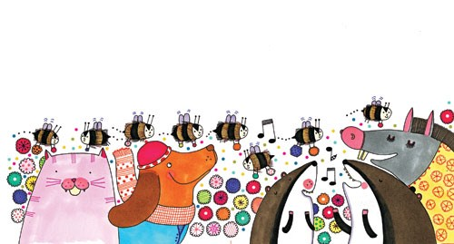 Valeria Valenza Illustration - valeria, valenza, valeria valenza, paint, painted, traditional, decoration, decorative, trade, sophisticated, picture book, picture book, YA, young reader, quirky, animals, bees, insects, donkey, dog, cat, pattern