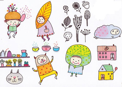 Valeria Valenza Illustration - aleria, valenza, valeria valenza, painted, traditional, digital, decorative, trade, sophisticated, picture book, colours, colourful, vector, quirky, kitsch, people, kids, childnre, costumes, cloud, leaves, acorn, cat, animals, houses, homes, cups, flowers