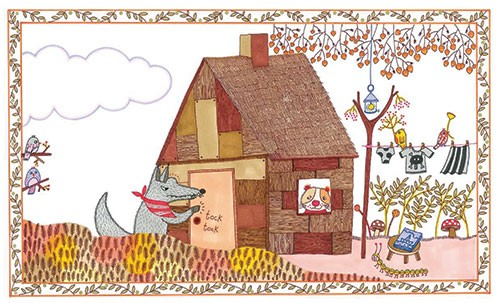 Valeria Valenza Illustration - valeria, valenza, valeria valenza, paint, painted, traditional, decoration, decorative, trade, sophisticated, picture book, wolf, animals, pig, home, house, birds, autumn, mushrooms, leaves, trees, washing line, lamp