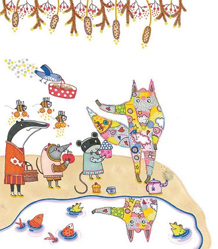 Valeria Valenza Illustration - valeria, valenza, valeria valenza, paint, painted, traditional, decoration, decorative, trade, sophisticated, picture book, animals, humour, funny, bird, badger, wolf, mouse, fish, frog, puddle, bees, flowers,