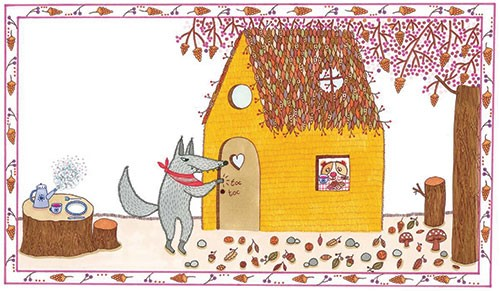 Valeria Valenza Illustration - aleria, valenza, valeria valenza, painted, traditional, digital, decorative, trade, sophisticated, picture book, colours, colourful, vector, quirky, kitsch, wolf, house, door, knocking, tea, dinner, food, scared, three little pigs, fairy tale, classic, hi