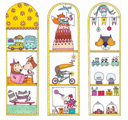 Valeria Valenza Illustration - aleria, valenza, valeria valenza, painted, traditional, digital, decorative, trade, sophisticated, picture book, colours, colourful, vector, quirky, kitsch, windows, toys, cars, animals, bears, doctor, bicycle, cake, train, skateboard, cute, jars, sweets,