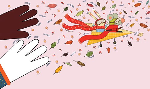 Valeria Valenza Illustration - valeria, valenza, valeria valenza, paint, painted, traditional, digital, decoration, decorative, trade, sophisticated, picture book, quirky, vector, colours, pattern, colourful, animals, mouse, rabbit, plane, goggles, flying, scarf, wind, leaves, acorns,