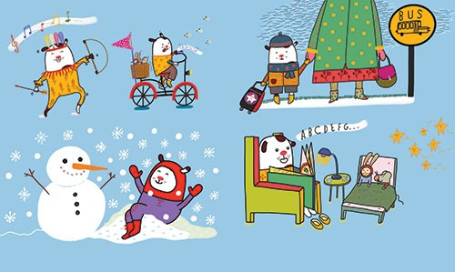 Valeria Valenza Illustration - valeria, valenza, valeria valenza, painted, traditional, digital, decorative, trade, sophisticated, picture book, colours, pattern, colourful, winter, seasonal, festive, snowman, snow, snowflakes, music, bicycle, bed, story, bedtime story, cute, sweet, st
