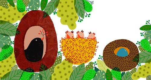 Valeria Valenza Illustration - valeria, valenza, valeria valenza, paint, painted, traditional, digital, decoration, decorative, trade, sophisticated, picture book, quirky, vector, colours, nature, birds, nest, animals, leaves, eggs, baby birds, babies,