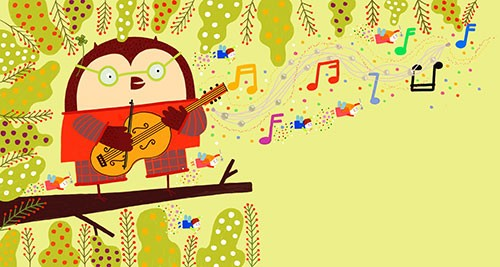 Valeria Valenza Illustration - valeria, valenza, valeria valenza, paint, painted, traditional, digital, decoration, decorative, trade, sophisticated, picture book, quirky, vector, colours, nature, animals, owl, branch, tree, leaves, guitar, music, notes, music notes, sparkles, stars, m