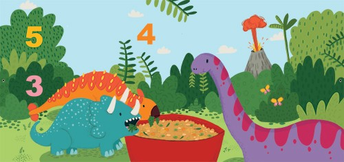 Will Bonner Illustration - will bonner, commercial, trade, educational, fiction, editorial, advertising, greetings cards, stationary, surface pattern design, picture book, painted, textured, photoshop, dinosaurs, counting, numbers, outdoors, trees, volcano, educational,