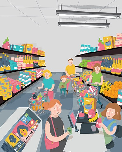 Will Bonner Illustration - will bonner, commercial, trade, educational, fiction, editorial, advertising, greetings cards, stationary, surface pattern design, picture book, painted, textured, photoshop, people, men, women, figures, shopping, supermarket, trolley, till, groceries