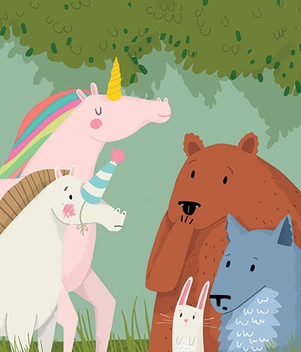 Will Bonner Illustration - will bonner, commercial, trade, educational, fiction, editorial, advertising, greetings cards, stationary, surface pattern design, picture book, painted, textured, photoshop, animals, unicorn, bear, horse, rabbit, wolf, cute