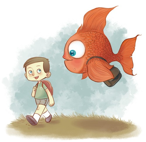 Xavier Bonet Illustration - xavier bonet, xavier, bonet, commercial, fiction, mass market, young reader, picture book, novelty, painted, traditional, digital, photoshop, illustrator, boy, child, person, figure, figurative, YA, fish, animal, quirky, friend, friendship, bag, colour, c