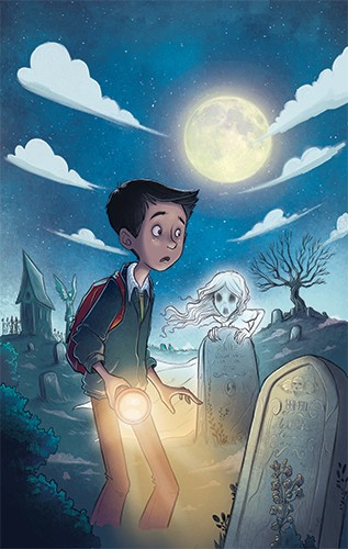 Xavier Bonet Illustration - xavier bonet, xavier, bonet, commercial, fiction, mass market, young reader, picture book, novelty, digital, photoshop, illustrator, moon, nighttime, character, person, child, boy, ghost, fantasy, adventure, spooky, graveyard, YA